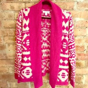 Hot pink & ivory aztec printed open cardigan 💗